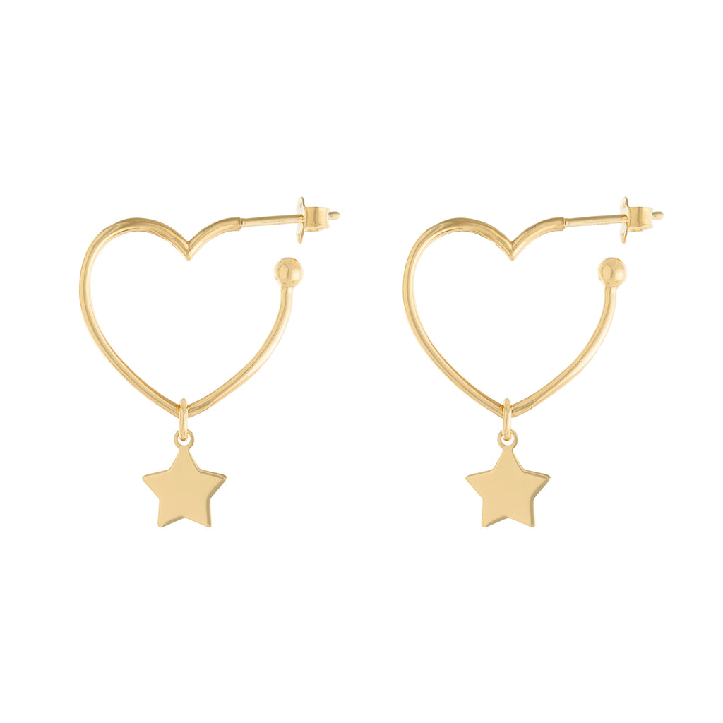 Star Drop Heart Hoop Earring