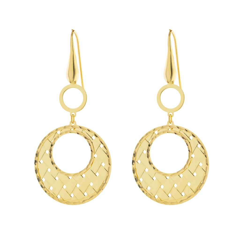 Woven Open Circle Drop Earring