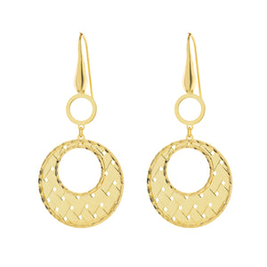 Weave Open Circle Wire Drop Earring