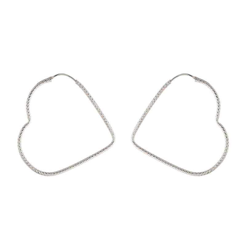 48MM Textured Angled Heart Hoop
