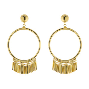 Multi Bar Drop Open Circle Post Earring