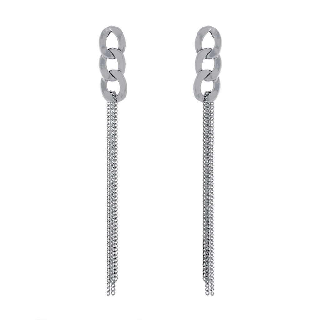 Link Multi Chain Drop Post Earring