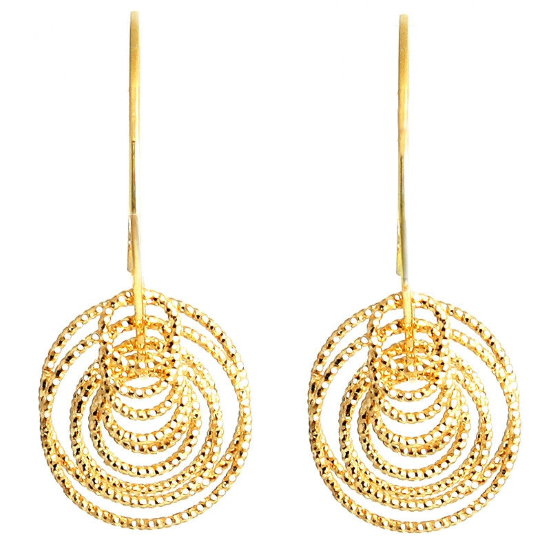 Gold Diamond Cut Graduated Circles Hoop Earring