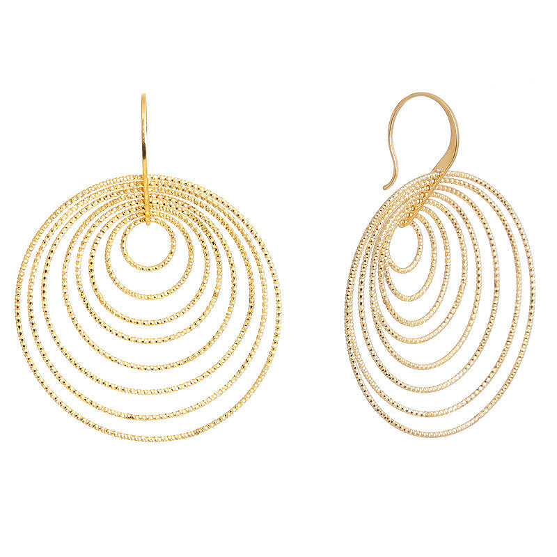 Gold Diamond Cut Multi Circle Drop Earring