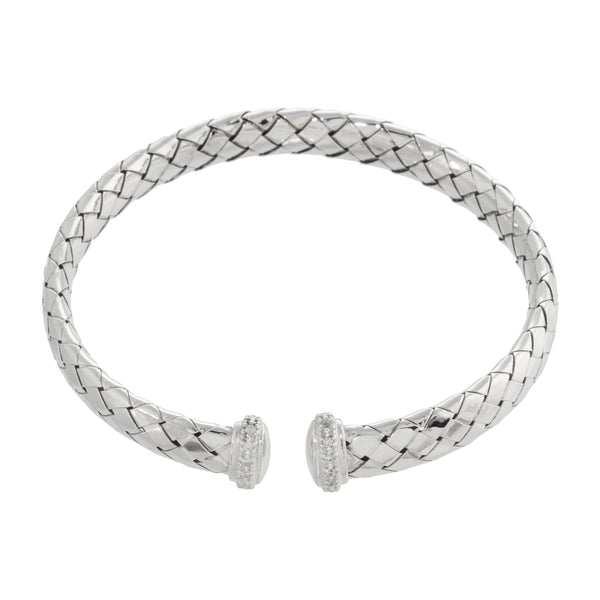 Woven Crystal Beaded Accent Cuff