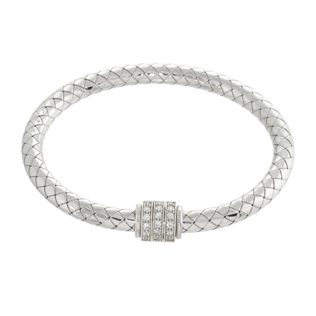 Woven Crystal Accent Bangle