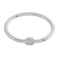 Woven Crystal Beaded Accent Bangle Bracelet