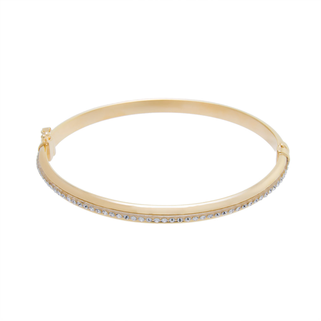 Gold Oval Crystal Bangle