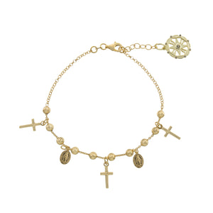 Gold Beaded Cross Religious Bracelet