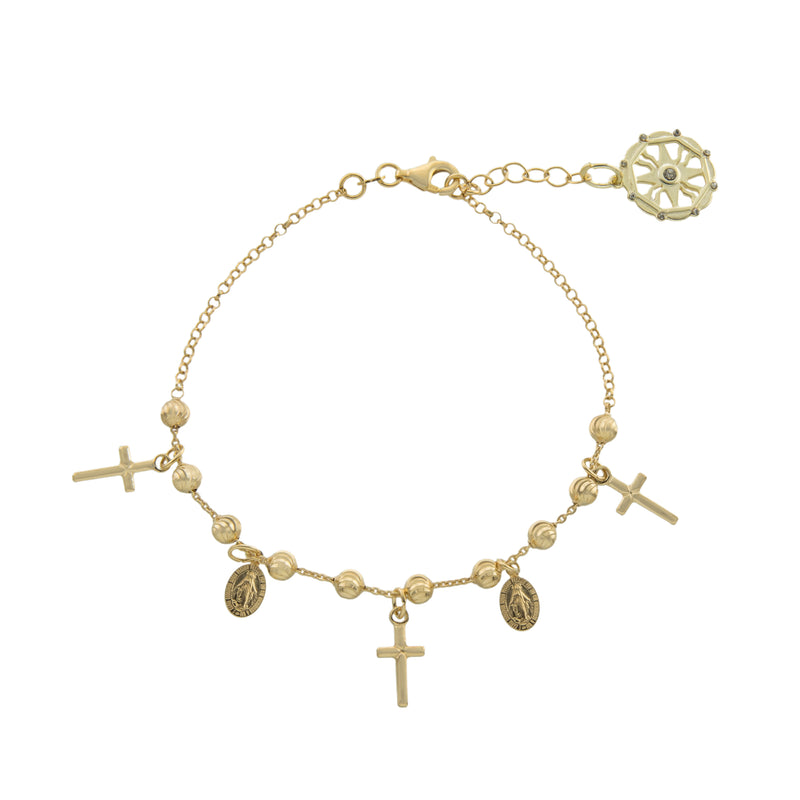 "7.25+0.75"" Gold Beaded Religious Bracelet with Cross"