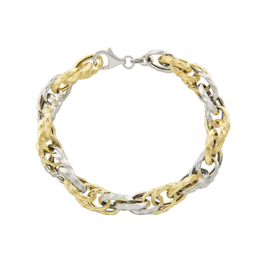 "7.5"" Two Tone Textured Link Bracelet with Lobster Lock"