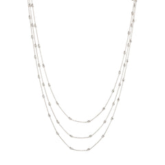 Triple Strand Diamond Cut Beaded Necklace