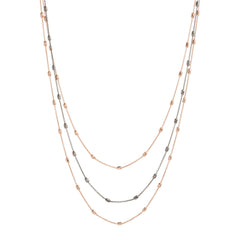 Two Tone Triple Strand Diamond Cut Beaded Necklace