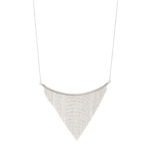 Diamond Cut Beaded Fringe Triangle Drop Curved Bar Necklace