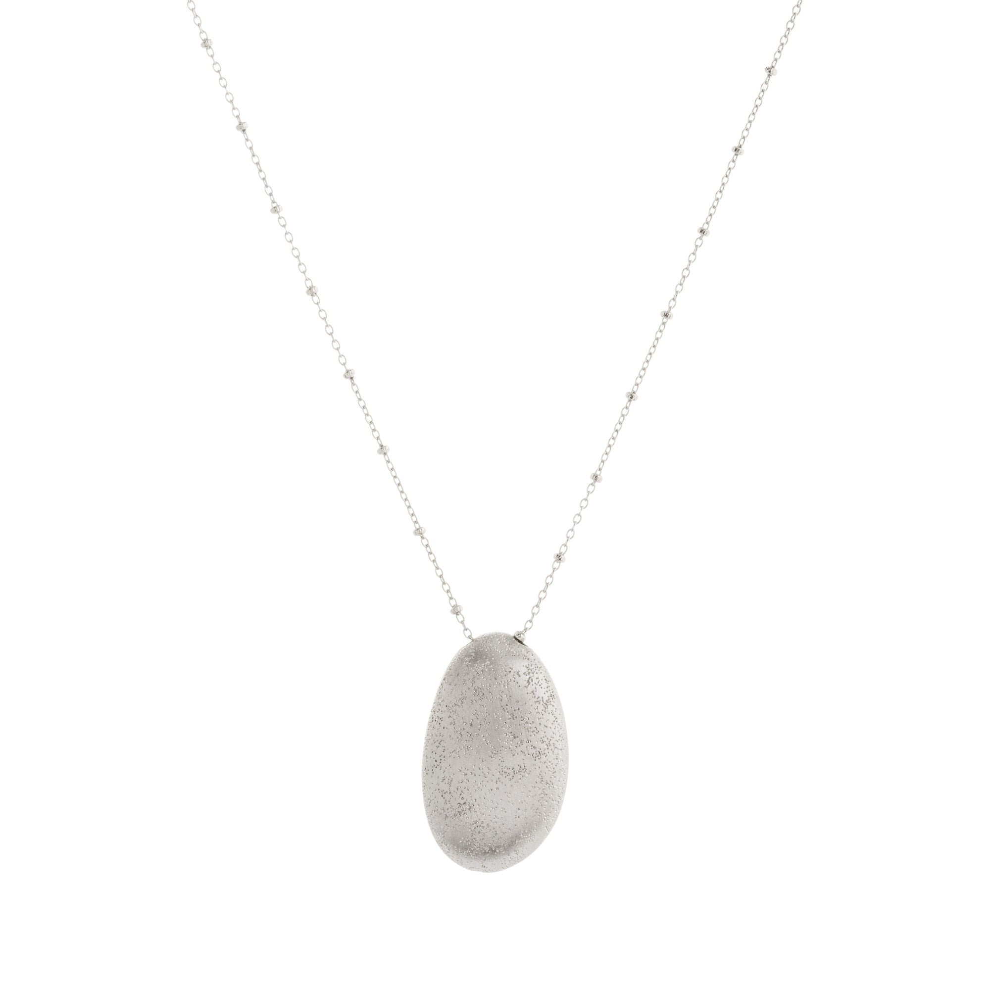 Satin Textured Abstract Drop with Beaded Chain Necklace