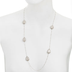 Textured Satin Multi Abstract Station Beaded Chain Necklace