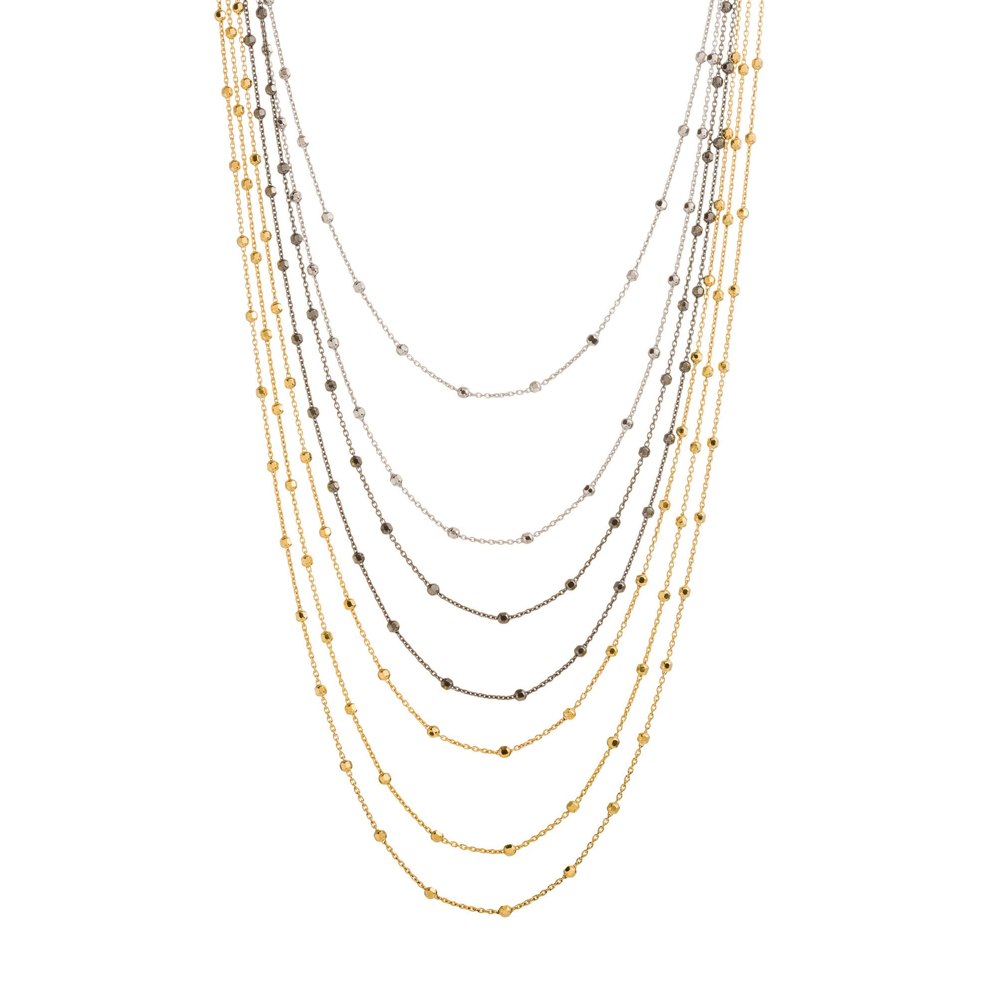 Tri-Color 7 Strand Diamond Cut Beaded Necklace
