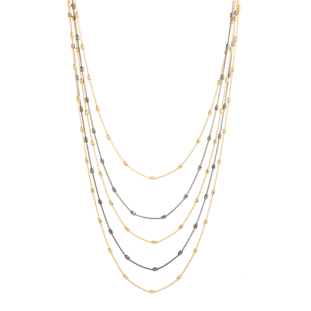 Two Tone 5 Strand Diamond Cut Beaded Necklace