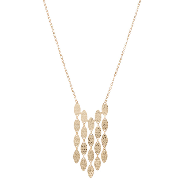 Hammered Oval 5-Row Strand Necklace