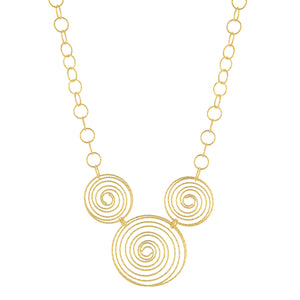 "18"" Textured Triple Circle Link Necklace"