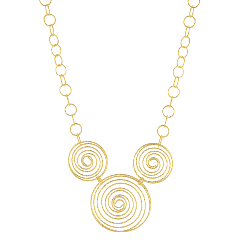 Textured Triple Circle Link Necklace