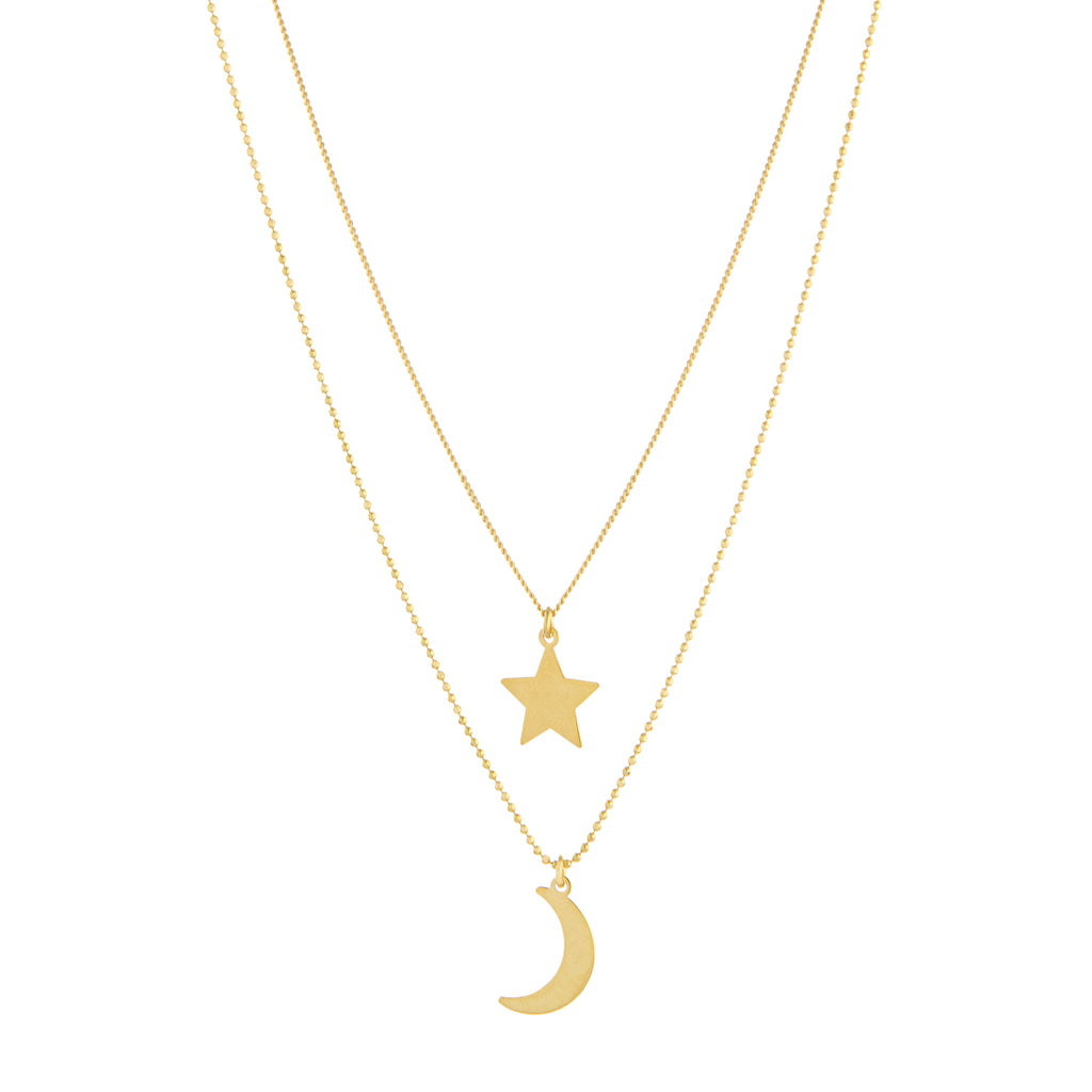 "16+2"" Star & Moon Multi Strand Necklace"