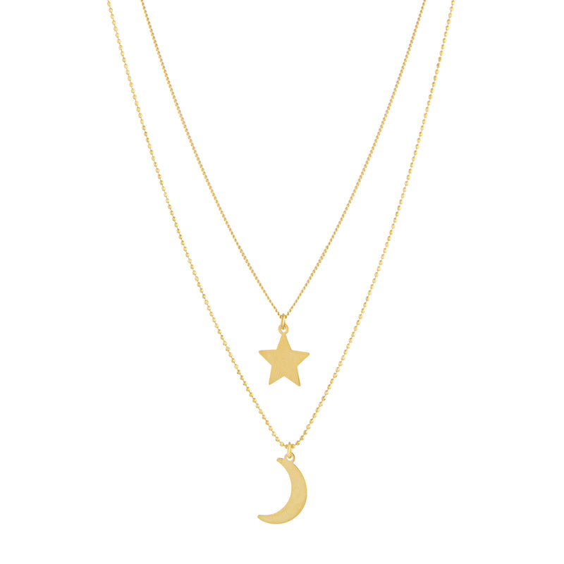 Star & Moon Multi Strand Necklace