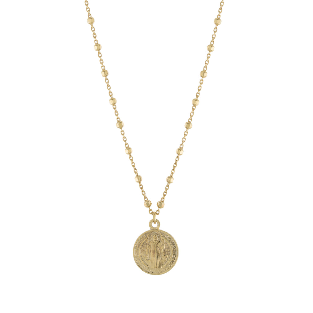 Gold St. Benedict Beaded Necklace