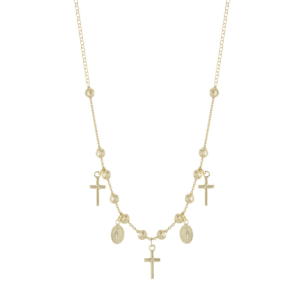 Gold Beaded Religious Cross Necklace