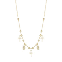 "16+2"" Gold Beaded Religious Cross Necklace"