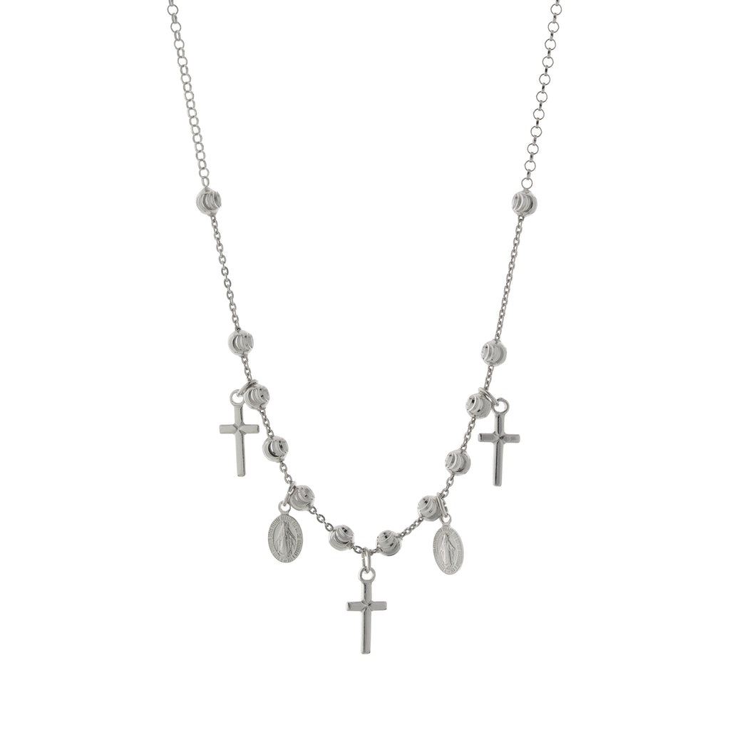 Beaded Religious Cross Necklace