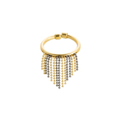 Two Tone Diamond Cut Beaded Fringe Ring