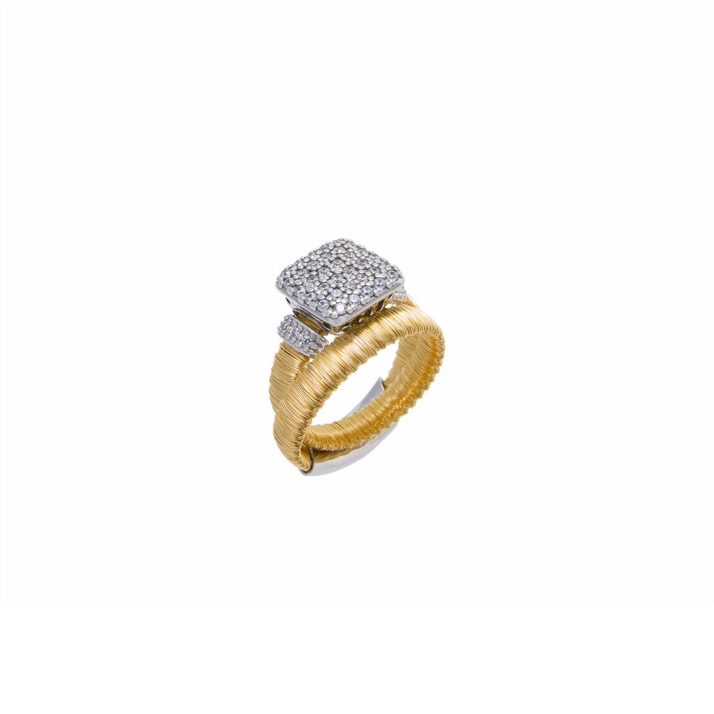 Two Tone Square Crystal Ring