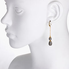 Black Diamond Crystal Double Chain Teardrop Drop Earring