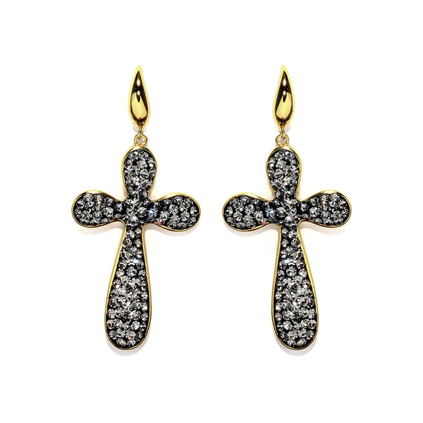 Black Diamond Crystal Large Cross Drop Earring