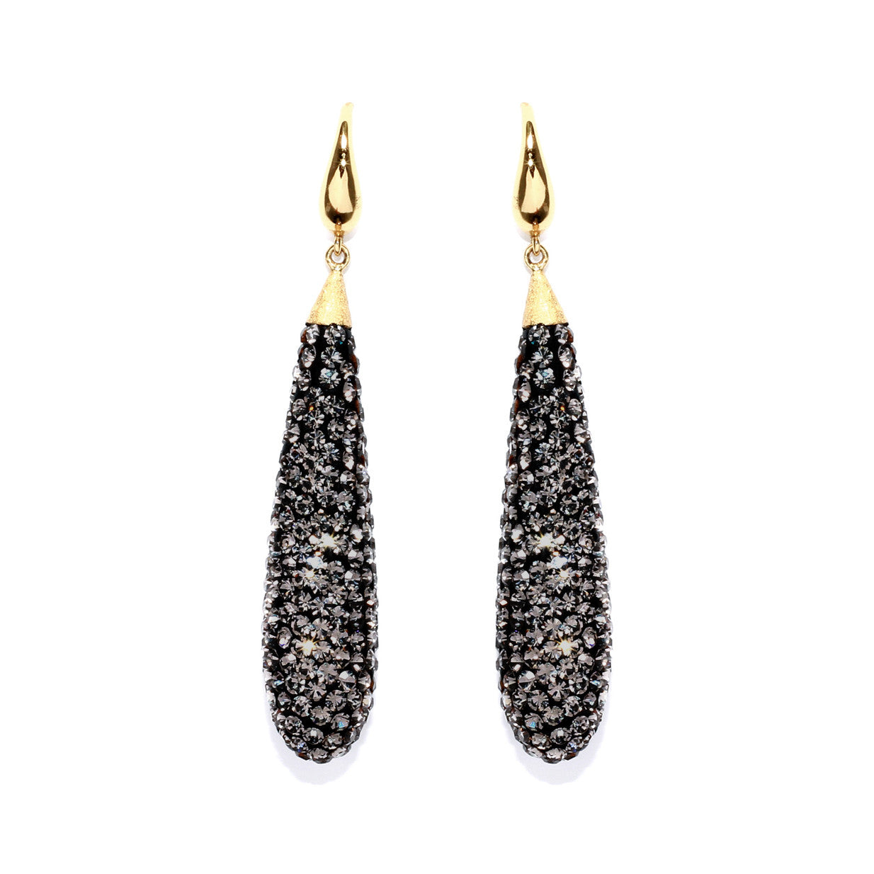 Black Diamond Crystal Long Teardrop Statement Earring