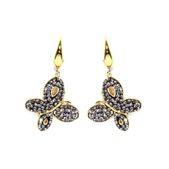 Black Diamond Crystal Butterfly Drop Earring
