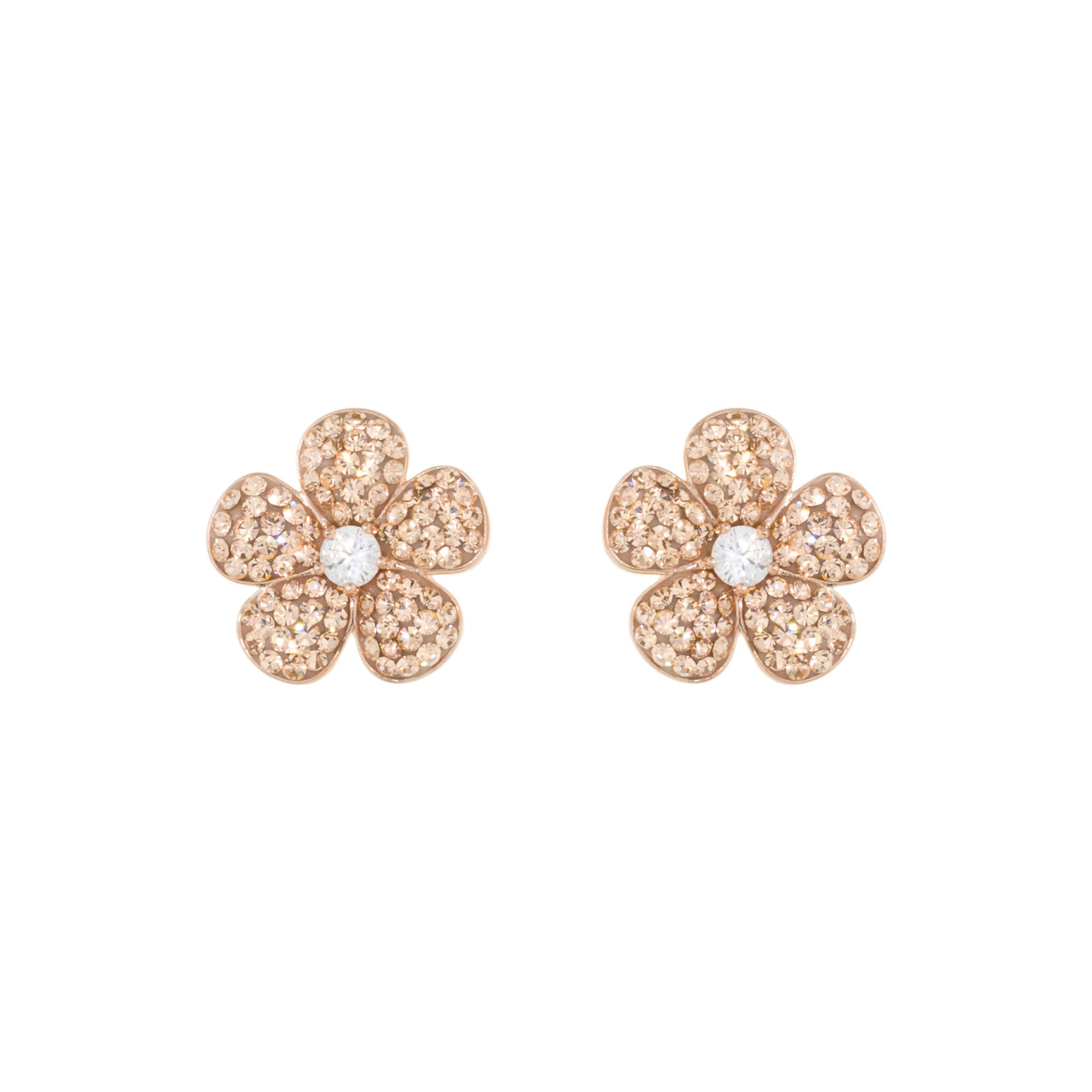 Rose Gold Light Peach Crystal Cubic Zirconia Accent Flower Stud Earring