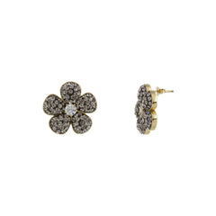 Black Diamond Crystal Cubic Zirconia Accent Flower Stud Earring