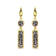 Black Diamond Crystal Round & Rectangle Drop Earring