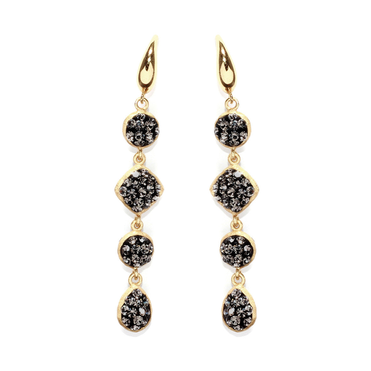 Black Diamond Crystal Multi Double-Sided Shape Drop Earring