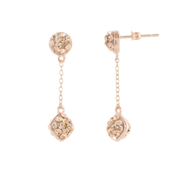 Rose Gold Light Peach Crystal Double-Sided Chain Drop Post Earring