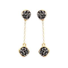 Black Diamond Crystal Double-Sided Chain Drop Post Earring