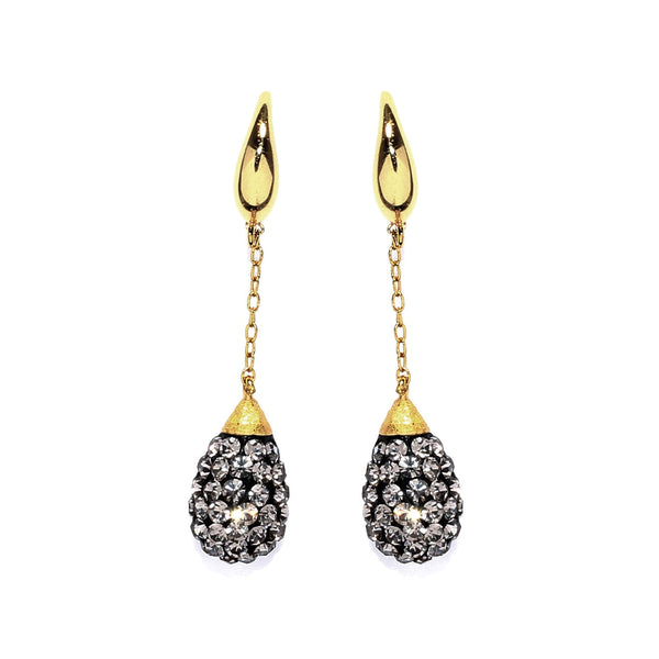 Black Diamond Crystal Chain Teardrop Earring