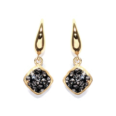Black Diamond Crystal Square Double-Sided Earring