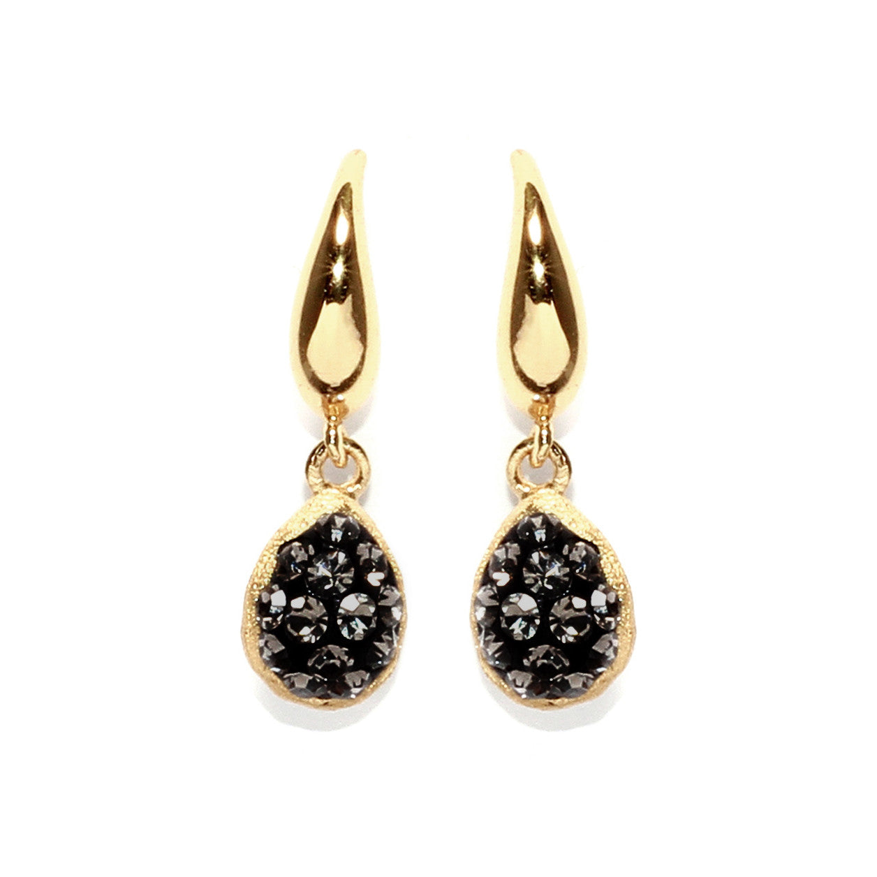 Black Diamond Crystal Double-Sided Teardrop Earring
