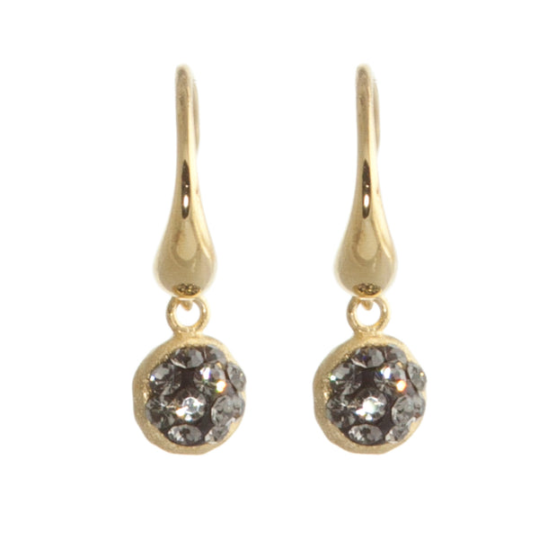 Black Diamond Crystal Round Double-Sided Earring