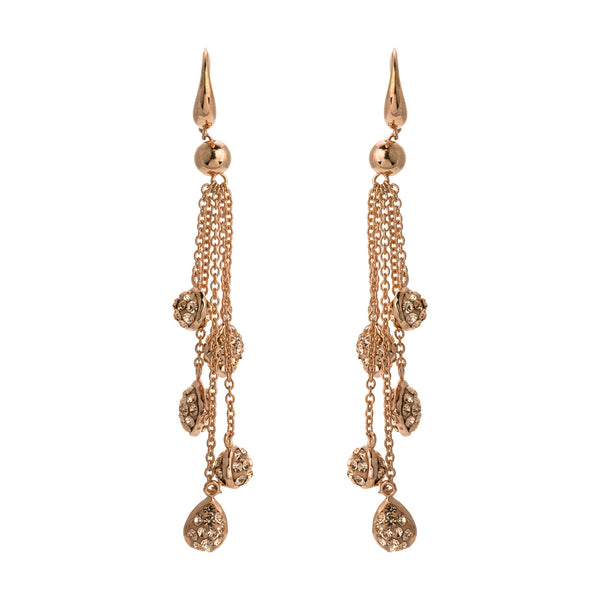 Rose Gold Light Peach Crystal Multi Chain Drop Earring