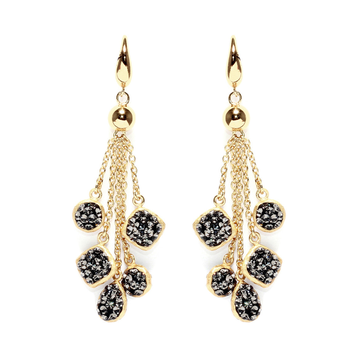 Black Diamond Crystal Multi Double-Sided Shape Chain Drop  Statement Earring