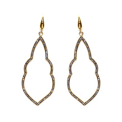 Black Diamond Crystal Fancy Open Abstract Drop Earring